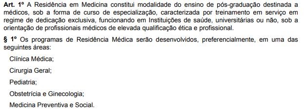 Decreto de criação da Residência Médica - Sanar Medicina