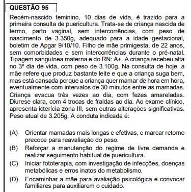 Questões objetivas de pediatria da prova de residência médica da FMUSP 2020 - Sanar Medicina