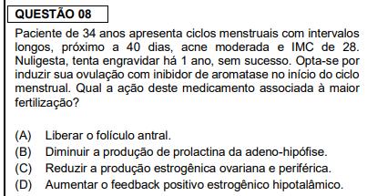 Questão de ginecologia e obstetrícia da prova de residência médica da FMUSP 2020 - Sanar Medicina