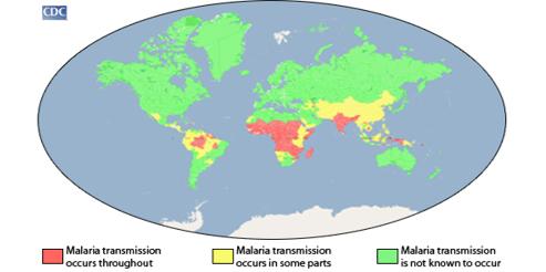 Distribuição da malária no globo