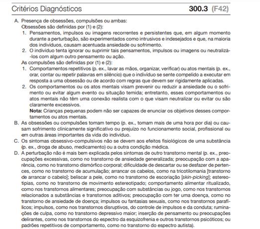 Critérios Diagnósticos TOC